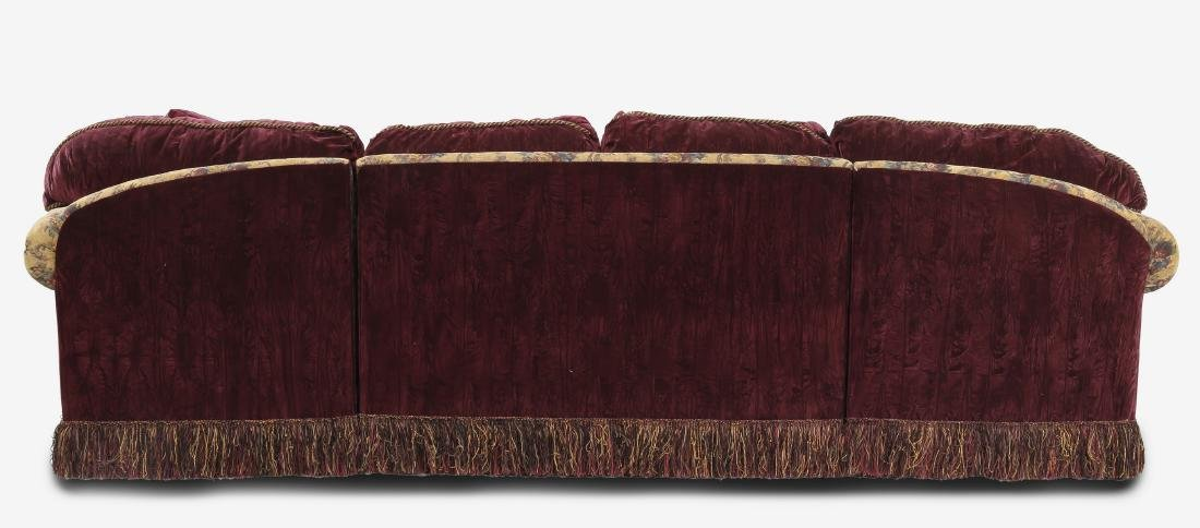 Custom aubergine velvet 3-piece sectional sofa - 2