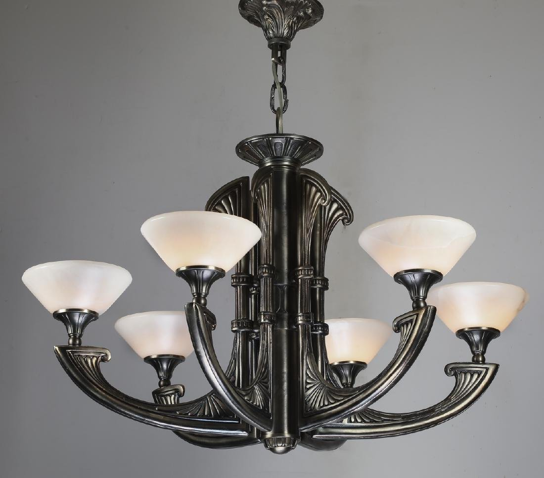 "Art Deco style 6-light chandelier, 36""h"