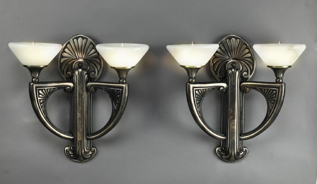 (2) Art Deco style oil rubbed bronze sconces