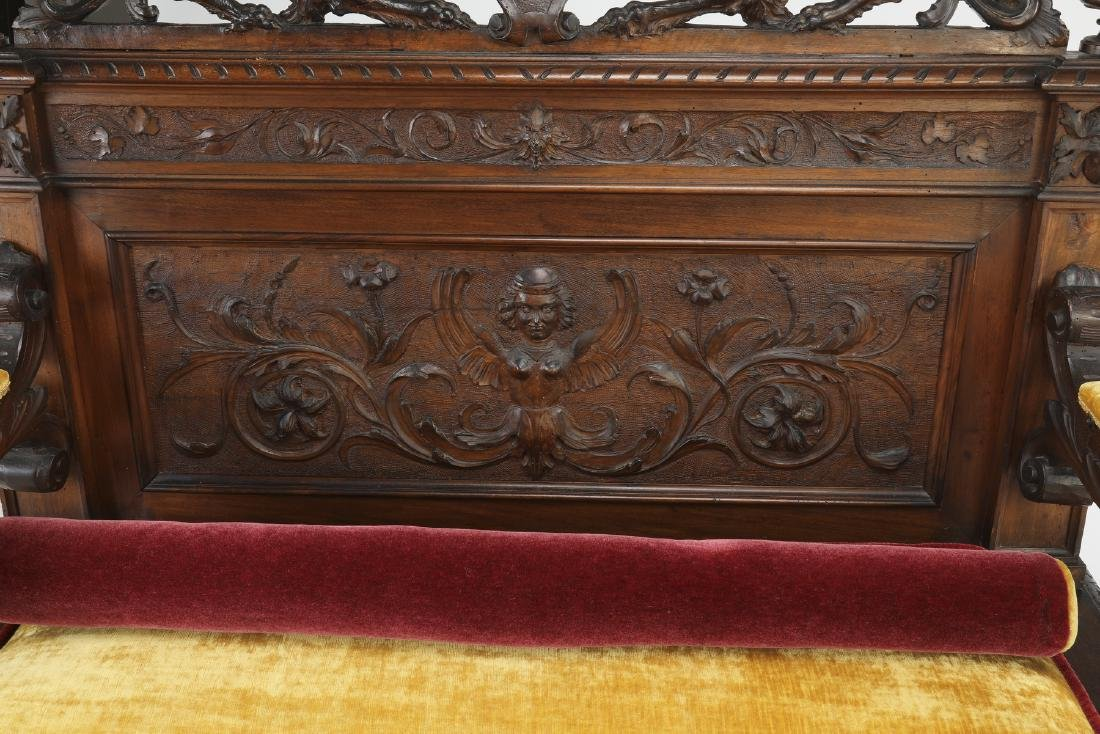 19th c Continental carved walnut hall bench - 4