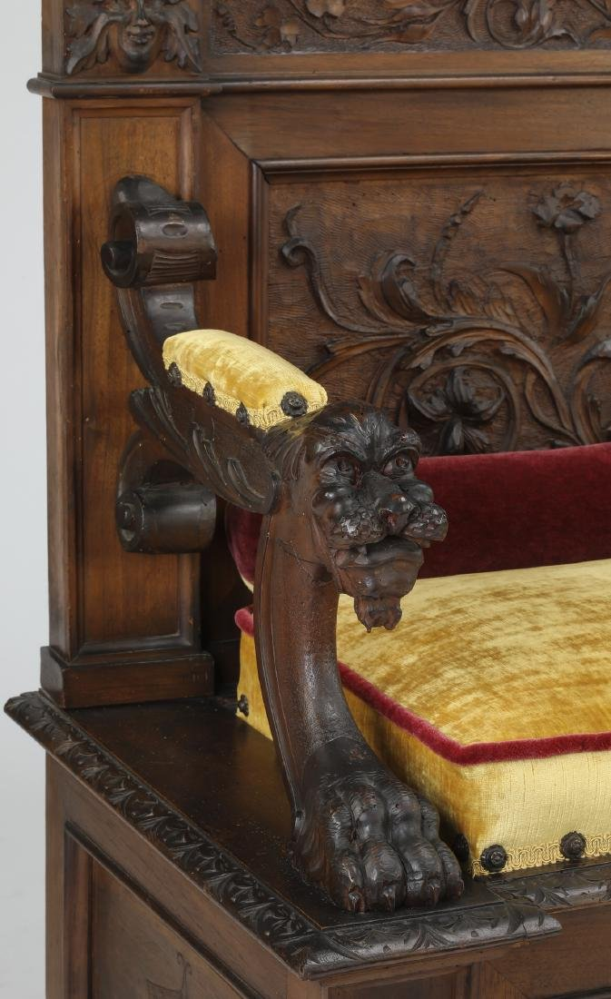 19th c Continental carved walnut hall bench - 5