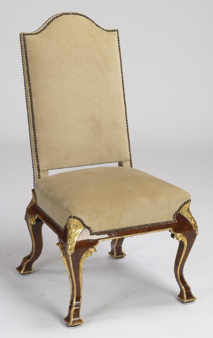 Italian parcel gilt burl side chair in velvet