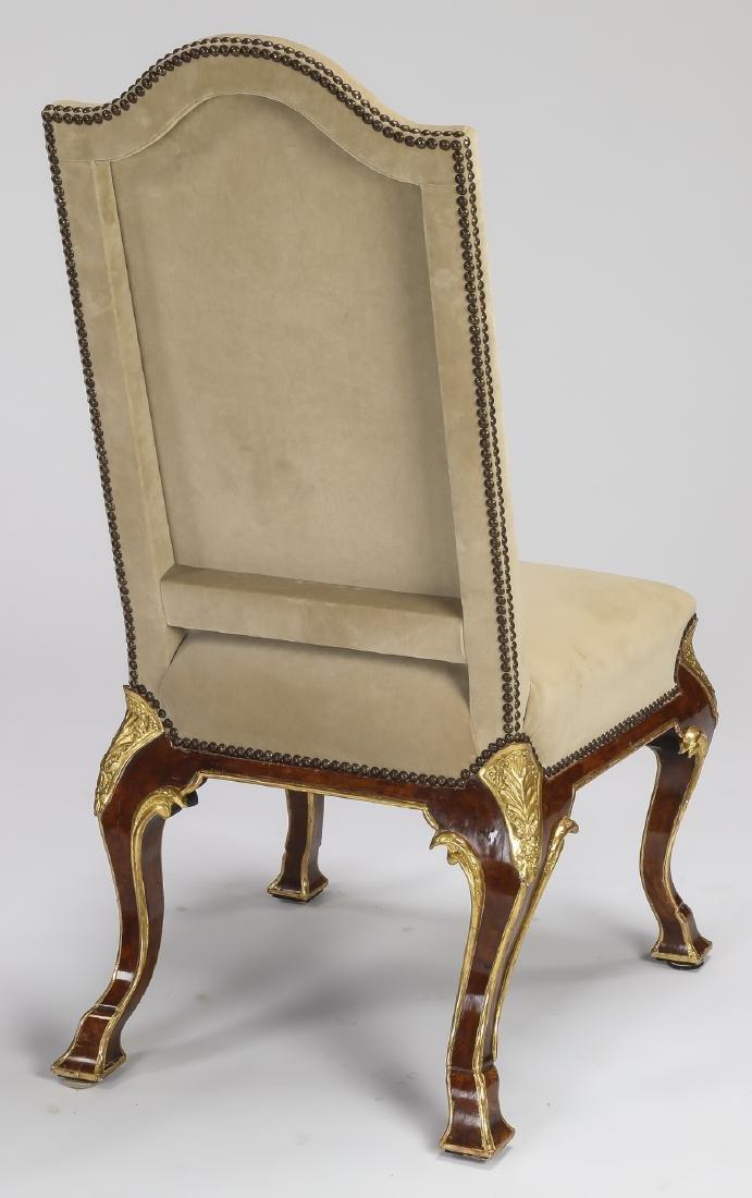 Italian parcel gilt burl side chair in velvet - 2