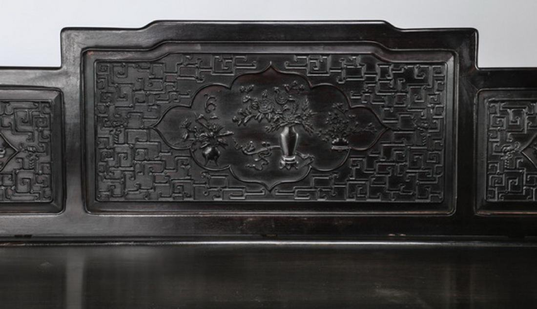 "Chinese carved and ebonized daybed, 78""l - 3"