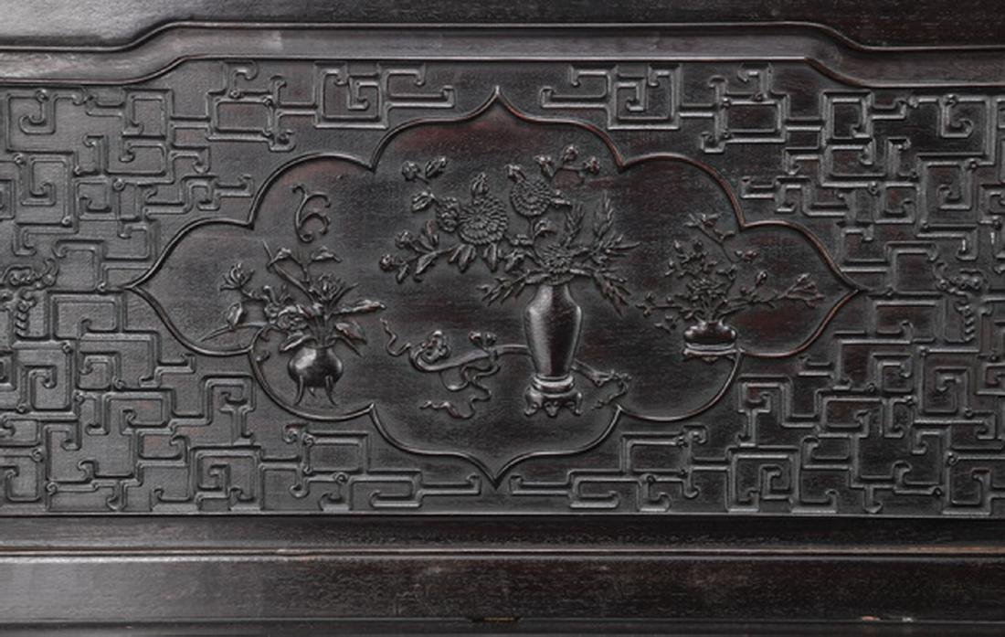 "Chinese carved and ebonized daybed, 78""l - 4"