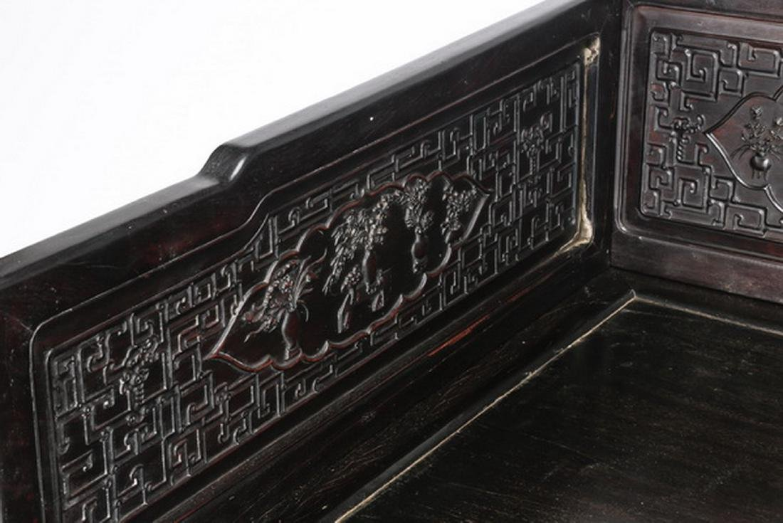 "Chinese carved and ebonized daybed, 78""l - 5"
