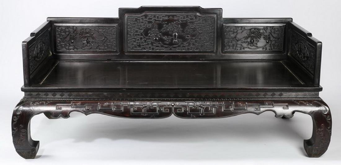 "Chinese carved and ebonized daybed, 78""l - 6"