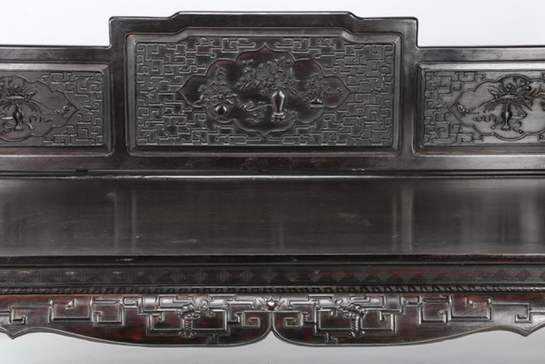 "Chinese carved and ebonized daybed, 78""l - 7"