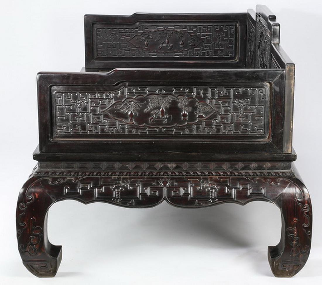 "Chinese carved and ebonized daybed, 78""l - 9"