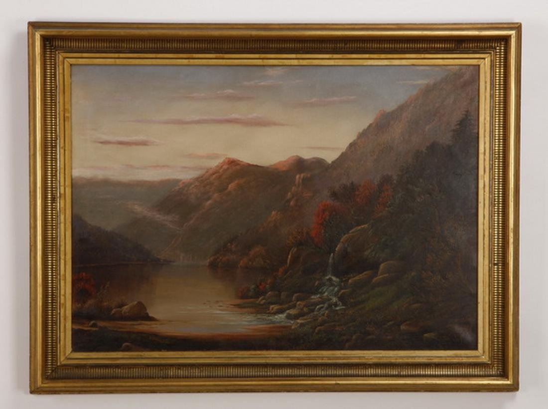 19th c. O/c Hudson River landscape, signed, dated