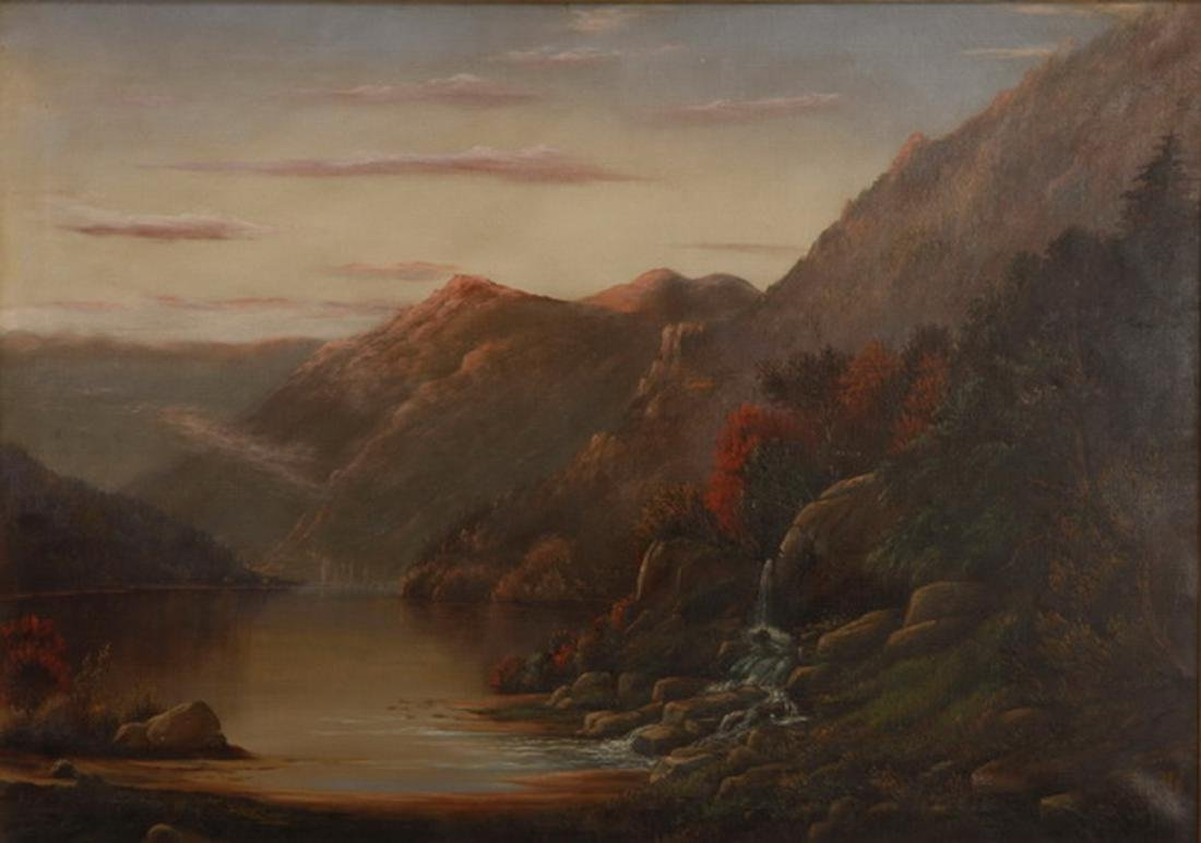19th c. O/c Hudson River landscape, signed, dated - 2