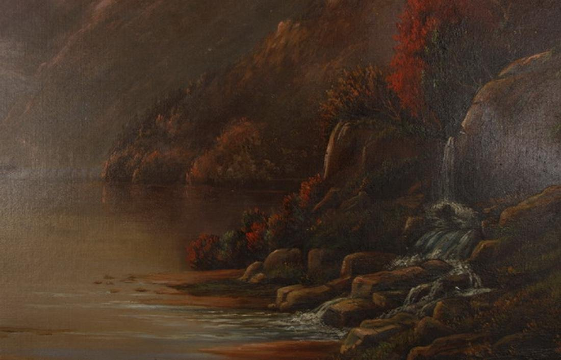 19th c. O/c Hudson River landscape, signed, dated - 3