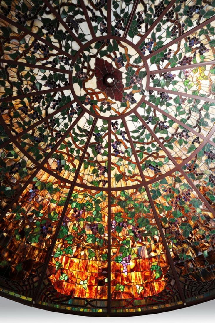 Monumental American stained glass dome, 17 ft dia. - 2
