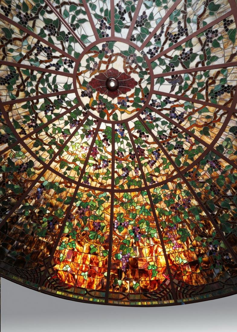Monumental American stained glass dome, 17 ft dia. - 5