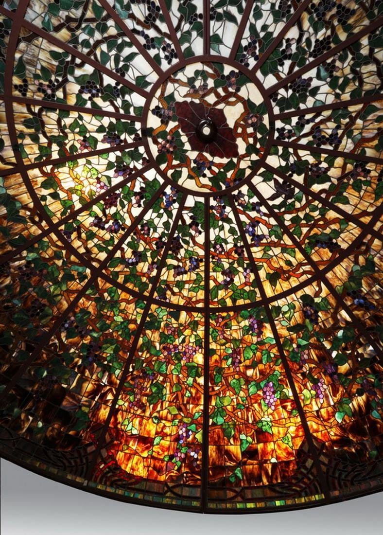 Monumental American stained glass dome, 17 ft dia. - 6