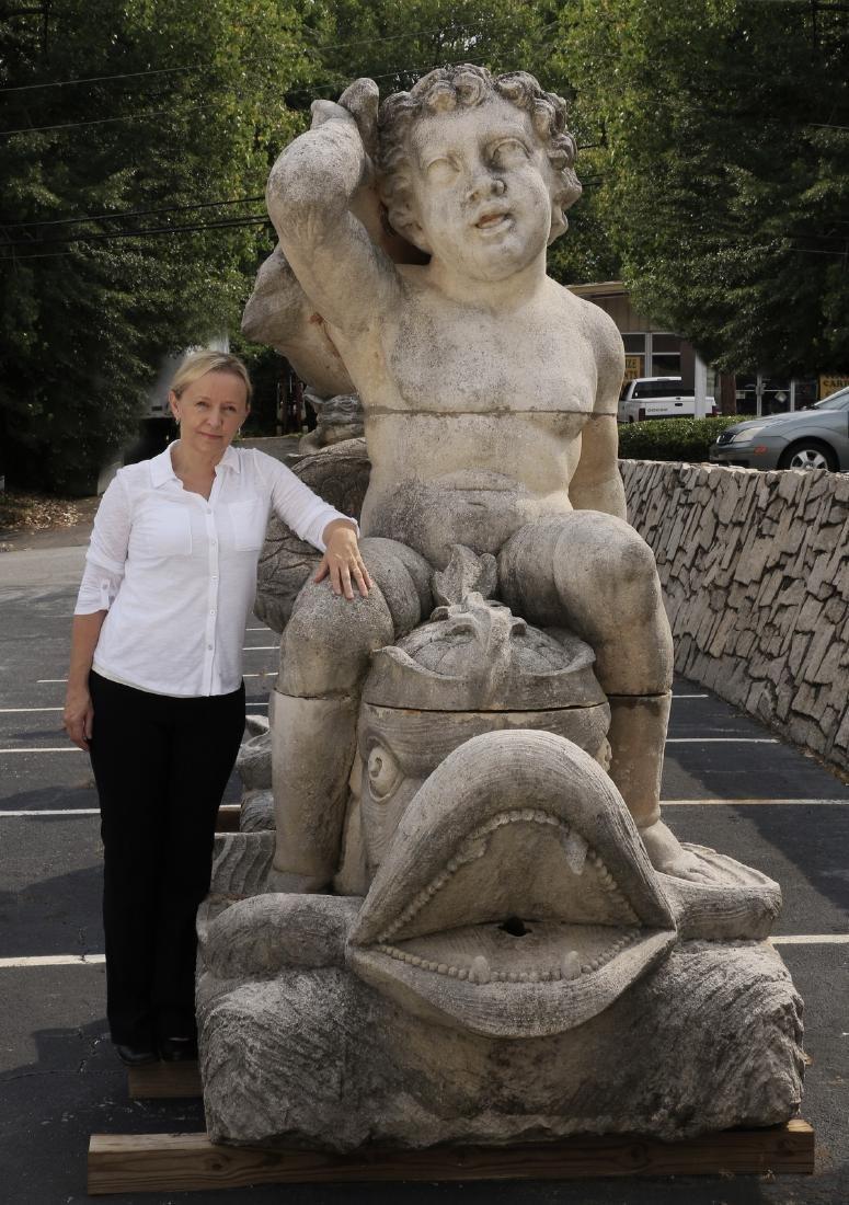 "Monumental Italian limestone sculpture, 99""h"