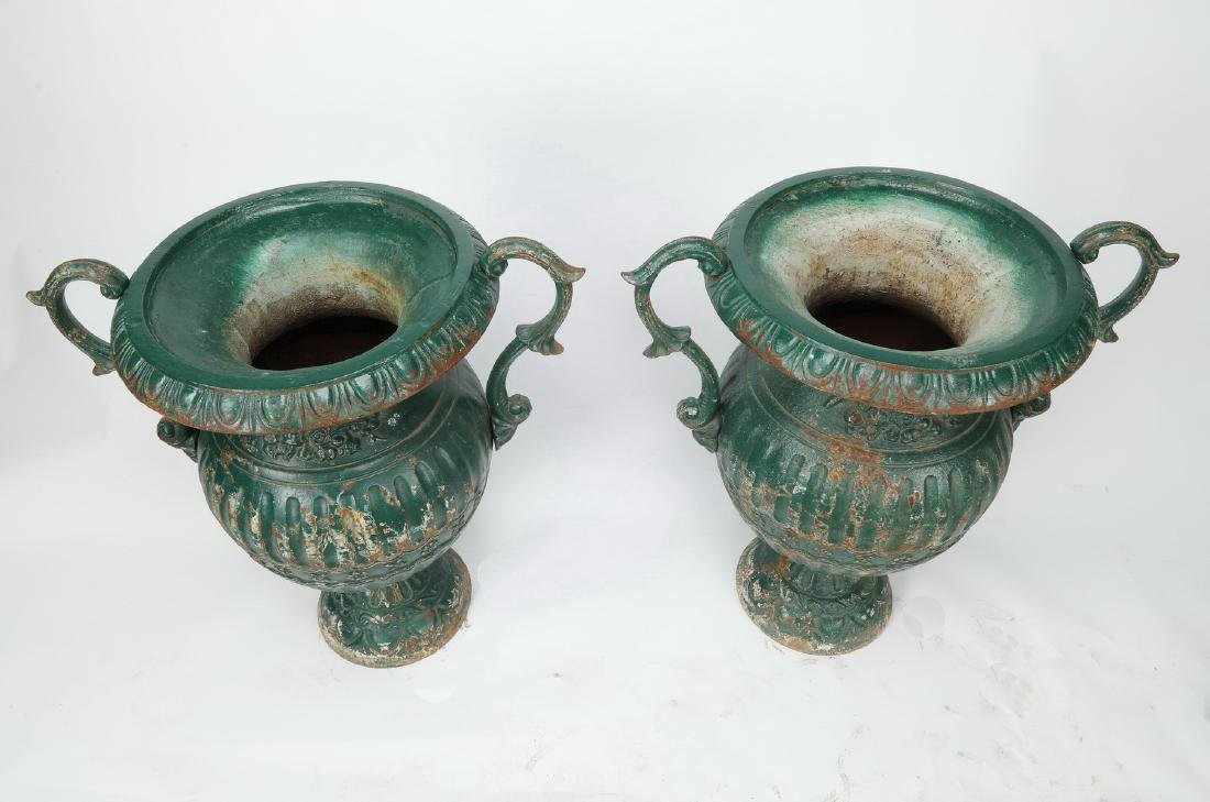 (2) Early 20th c rustic French cast iron handled urns - 2