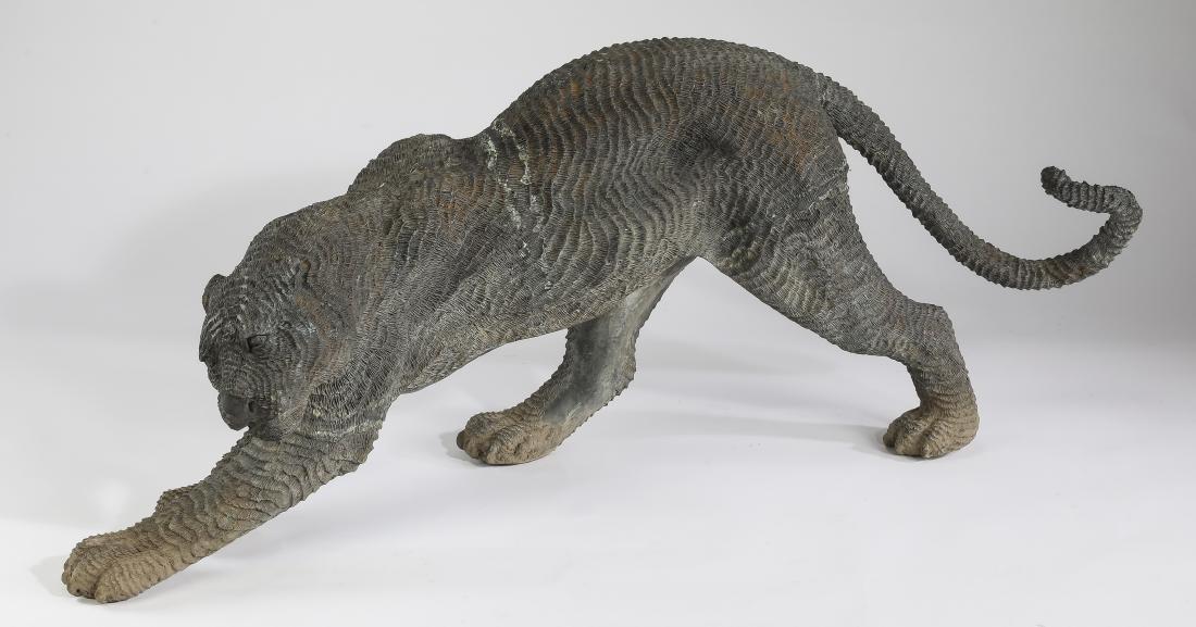 """Near life-size bronze mountain lion, 60""""l"""