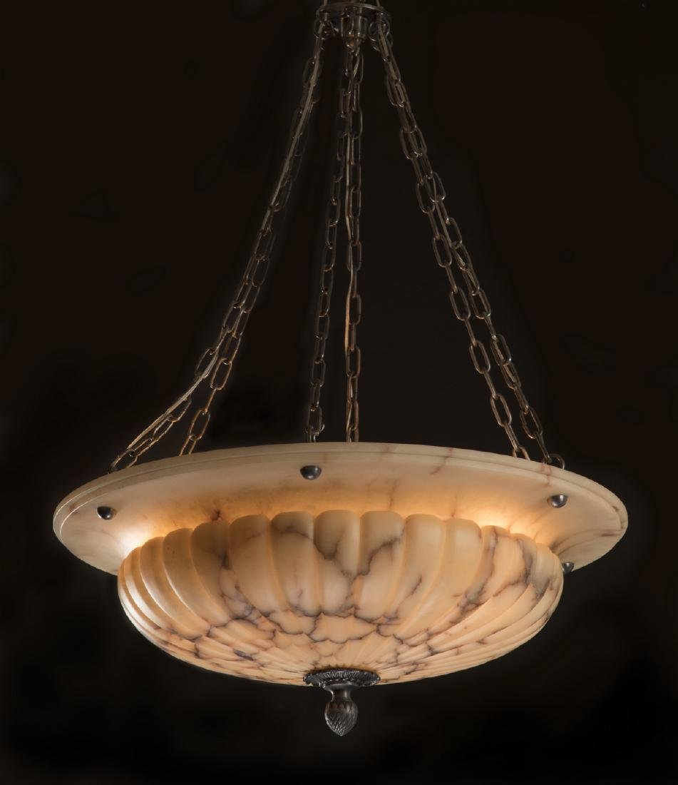 "Spanish alabaster dome shaped chandelier, 48""h"