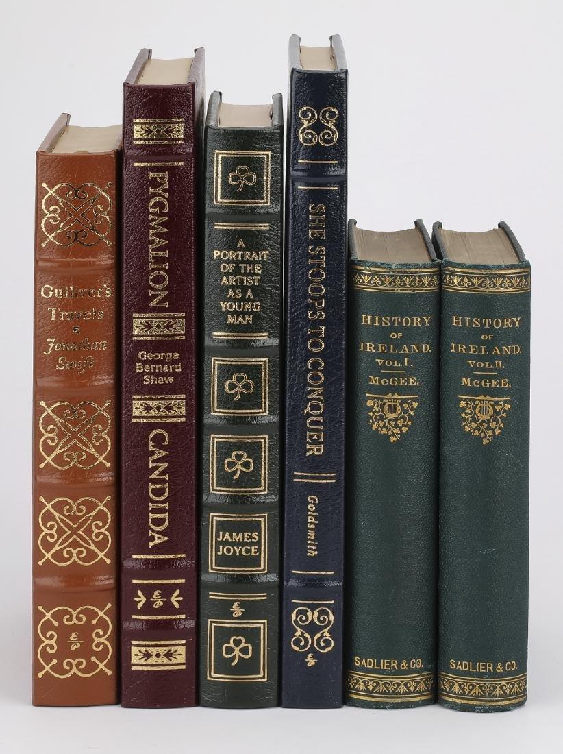 (6) Leatherbound books on literature & on Ireland