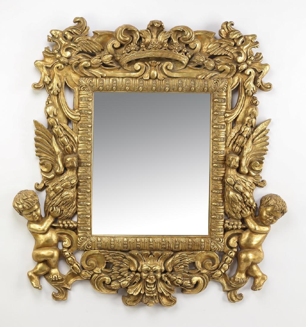 "Baroque inspired gilt figural mirror, 47""h"