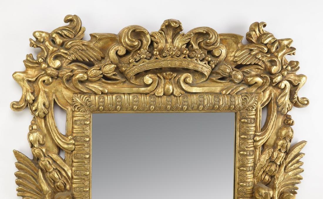 "Baroque inspired gilt figural mirror, 47""h - 2"