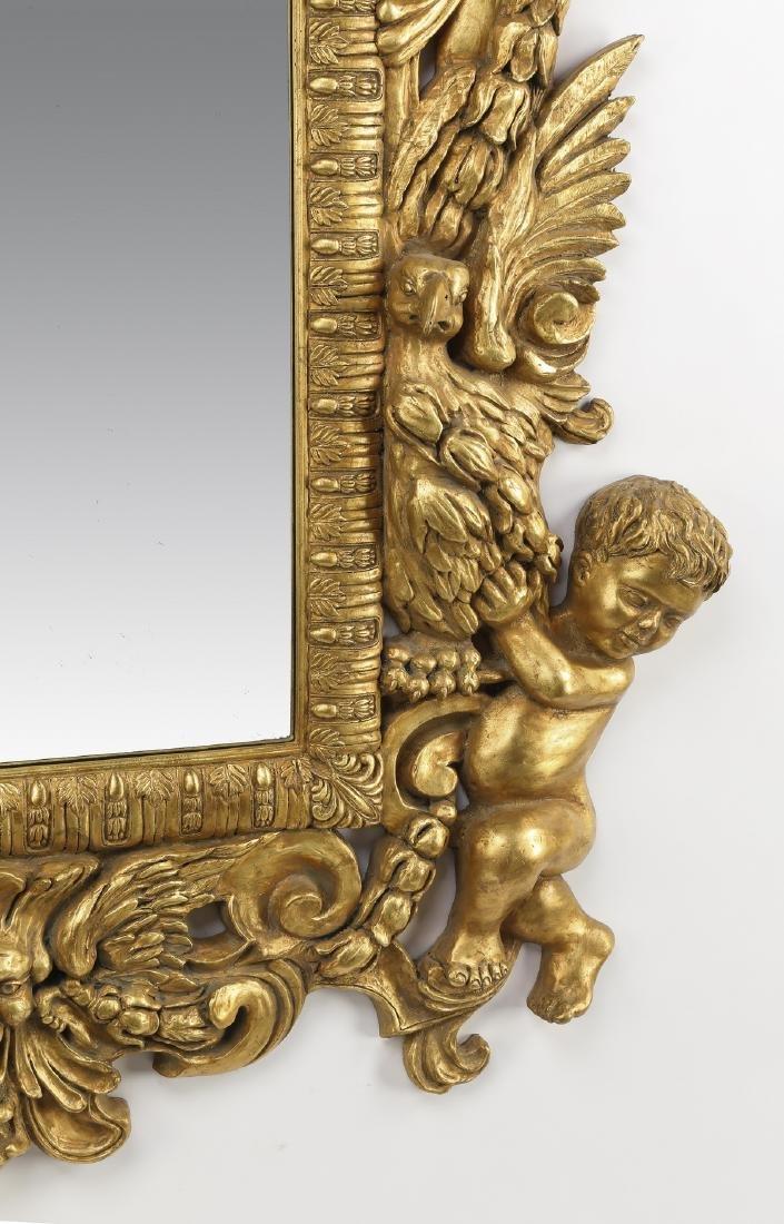 "Baroque inspired gilt figural mirror, 47""h - 5"