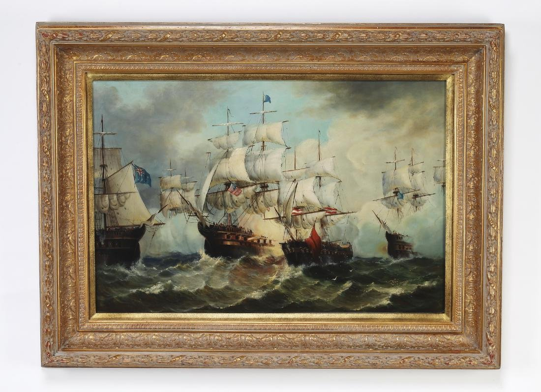 Maritime School O/c of confronting galleons at sea