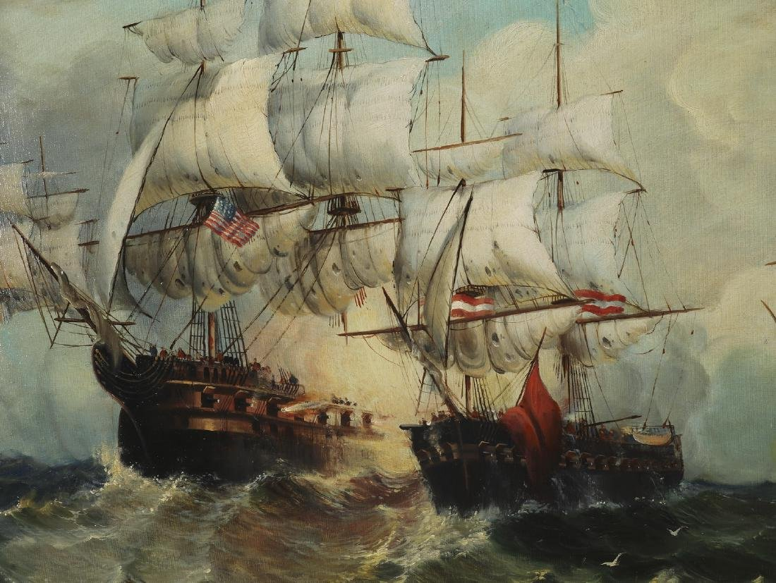 Maritime School O/c of confronting galleons at sea - 2