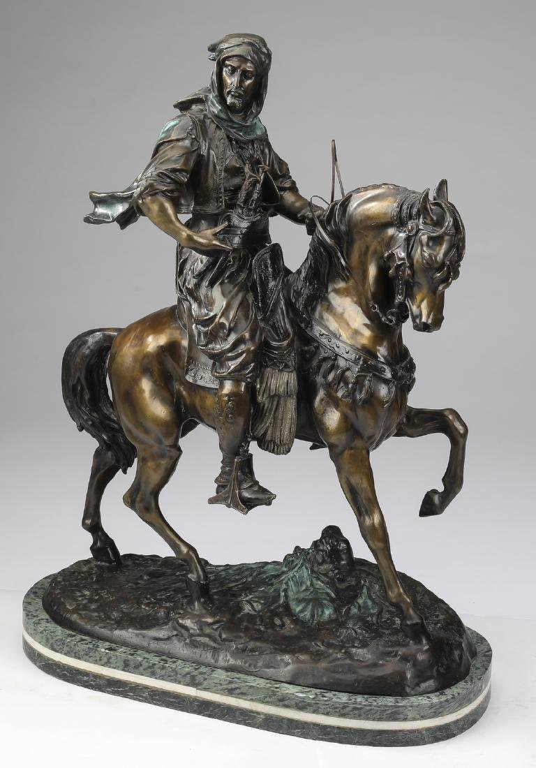 Orientalist bronze 'Arab Cavalier,' after Barye