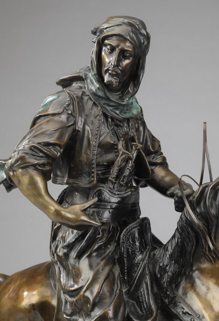 Orientalist bronze 'Arab Cavalier,' after Barye - 2