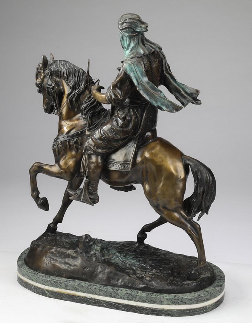 Orientalist bronze 'Arab Cavalier,' after Barye - 4