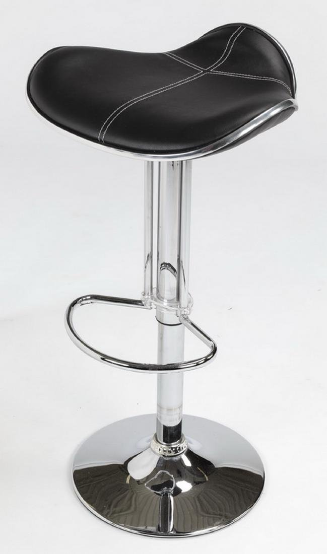 Contemporary chrome & leather barstool - 2