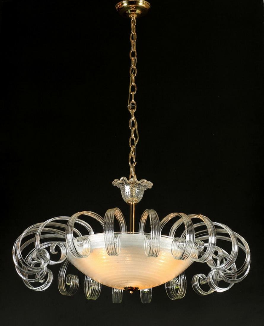 "Mid 20th c. glass and acrylic chandelier, 42""h"