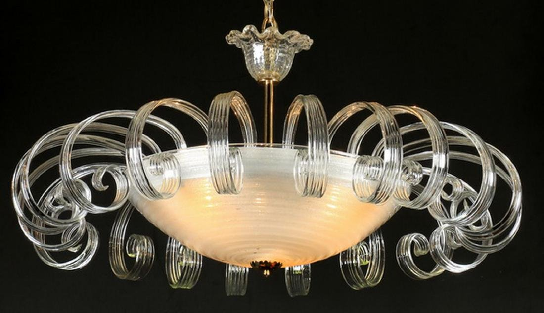 "Mid 20th c. glass and acrylic chandelier, 42""h - 3"