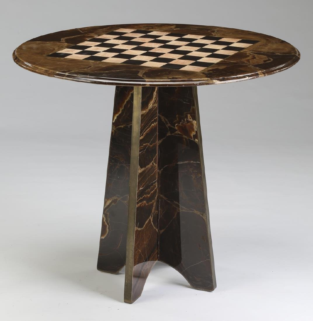 Marble chess or checkers game table