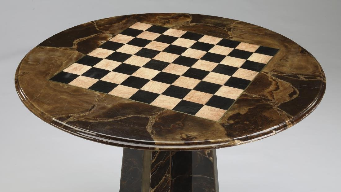 Marble chess or checkers game table - 2