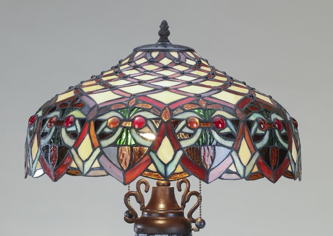 "Tiffany style  leaded glass lamp, 27""h - 2"