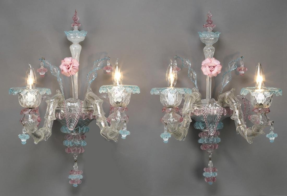 (2) Pink & blue Venetian Murano glass sconces