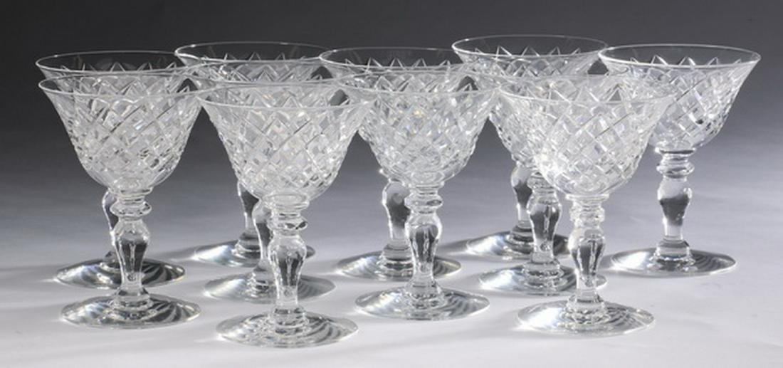 (11) Cut crystal champagne or sherbet cups by Hawkes