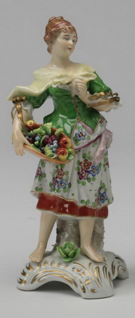 19th c. Sitzendorf porcelain figure of a woman