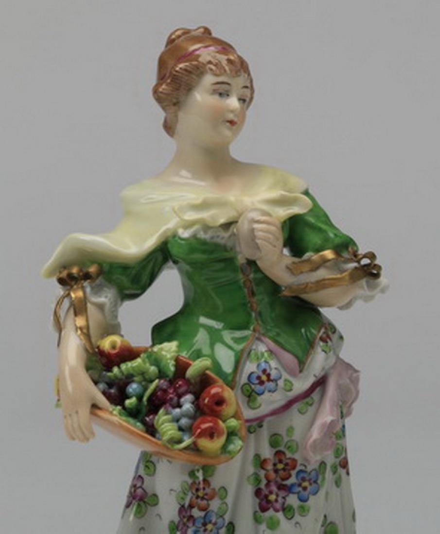 19th c. Sitzendorf porcelain figure of a woman - 2