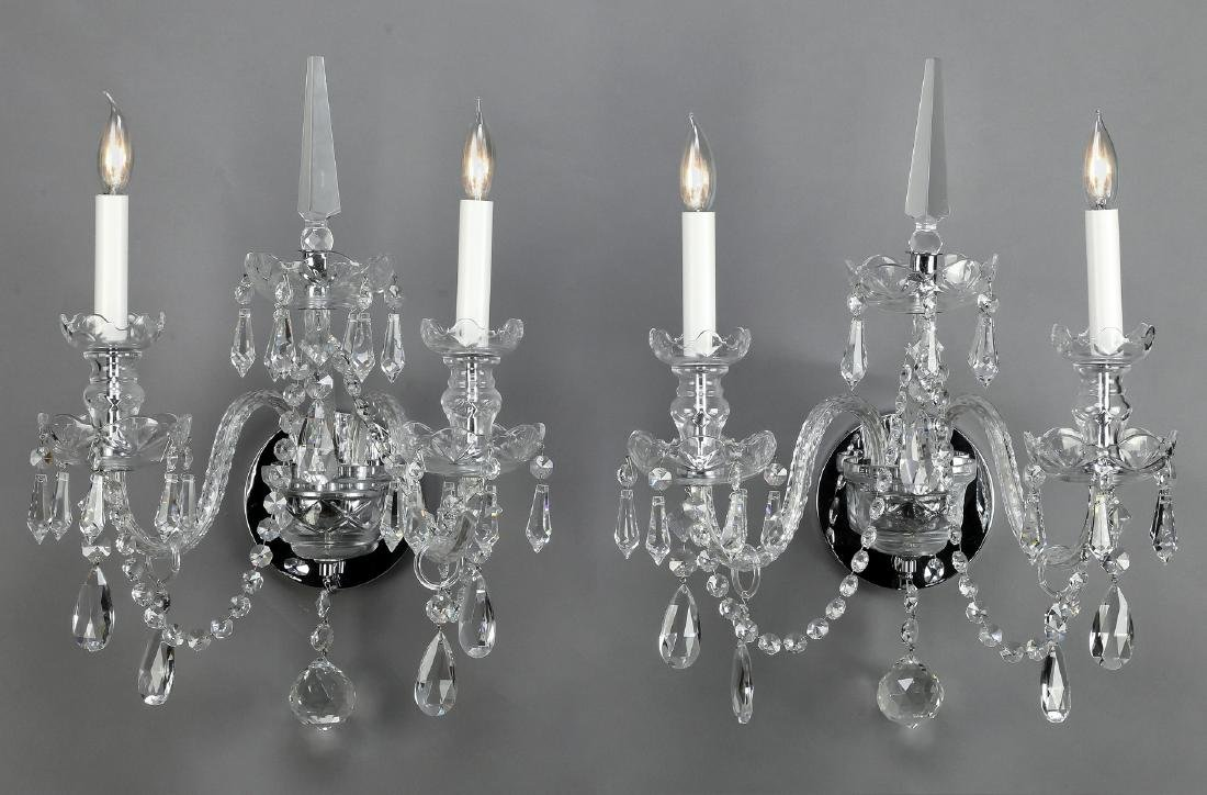 Pair of 2-light crystal wall sconces