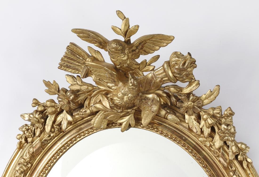 Early 20th c. French gold leaf mirror w/ lovebirds - 2