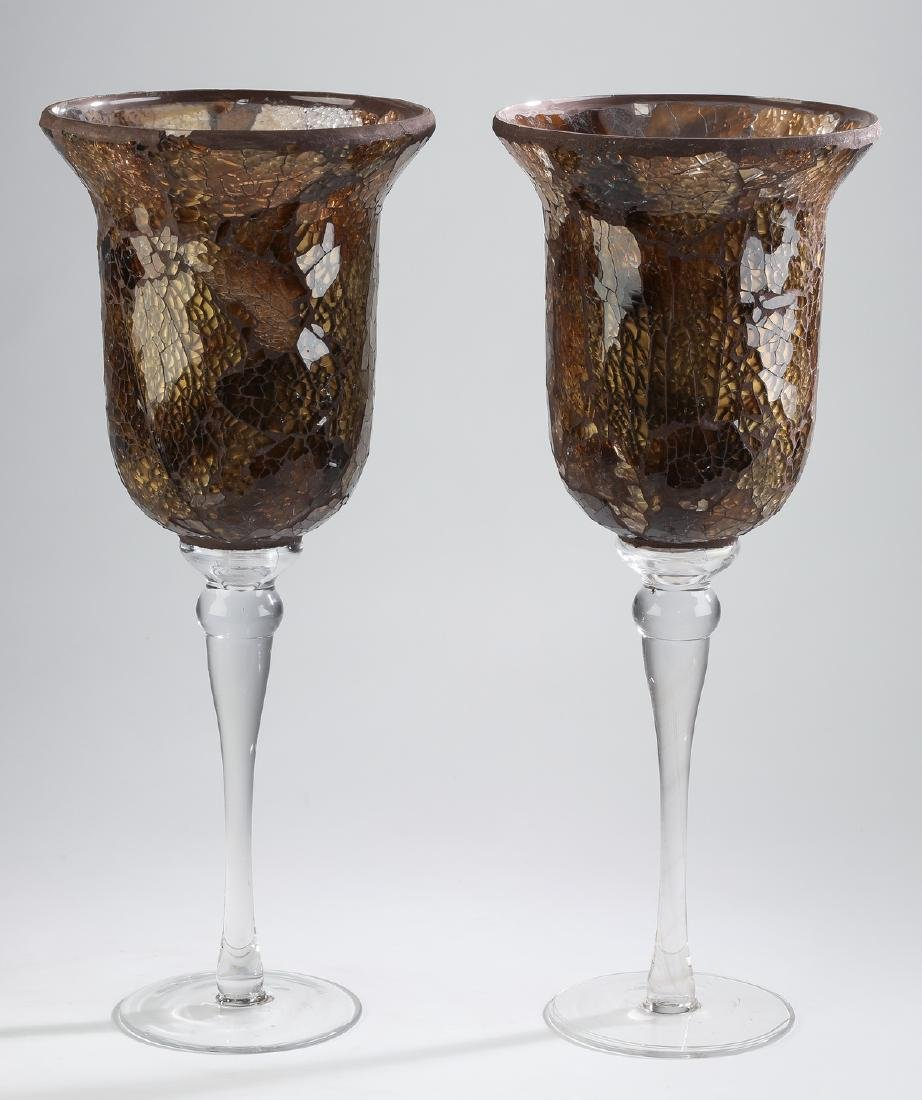 "Pair of crackled glass hurricanes, 21""h"