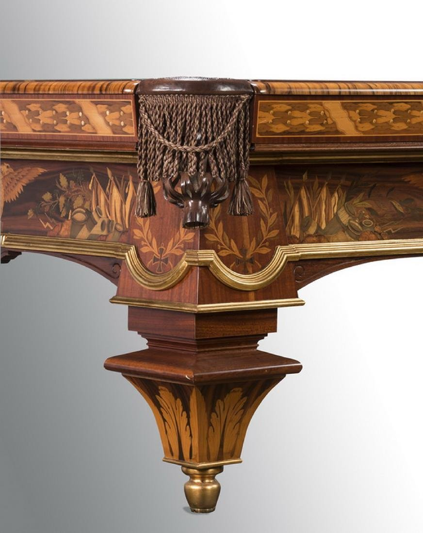 Handcrafted Italian marquetry inlaid pool table - 2