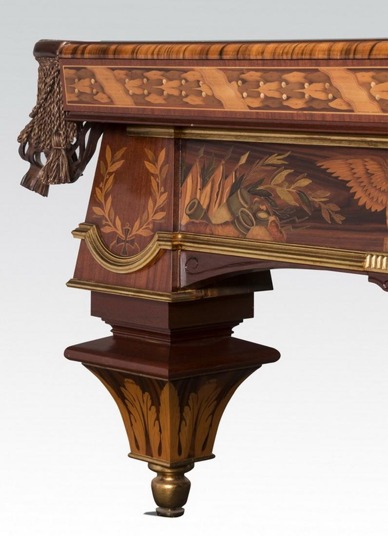 Handcrafted Italian marquetry inlaid pool table - 3