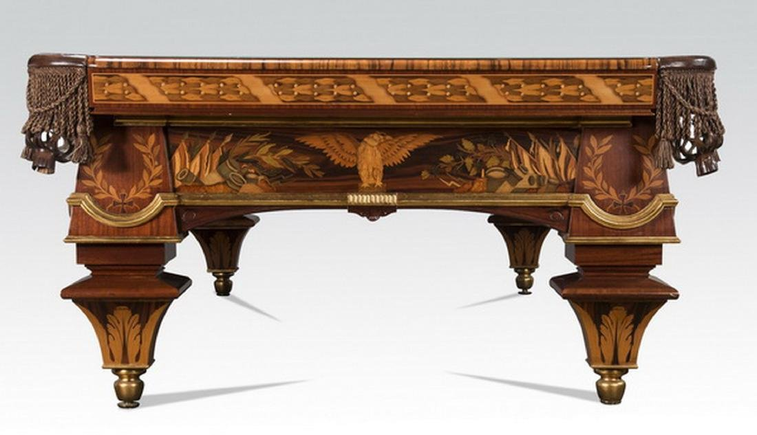 Handcrafted Italian marquetry inlaid pool table - 5