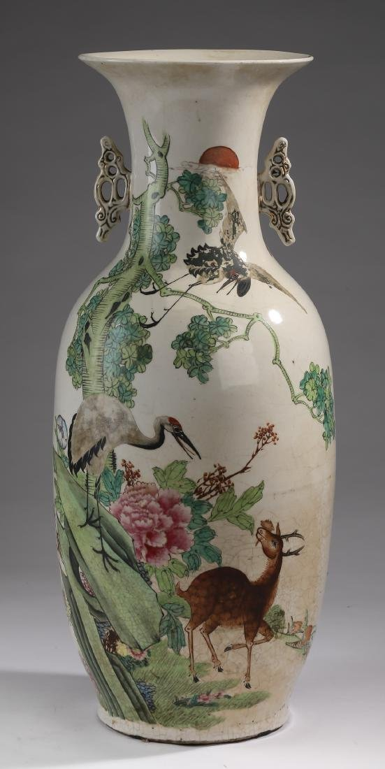 "Chinese crane and deer bottle vase, 22""h"