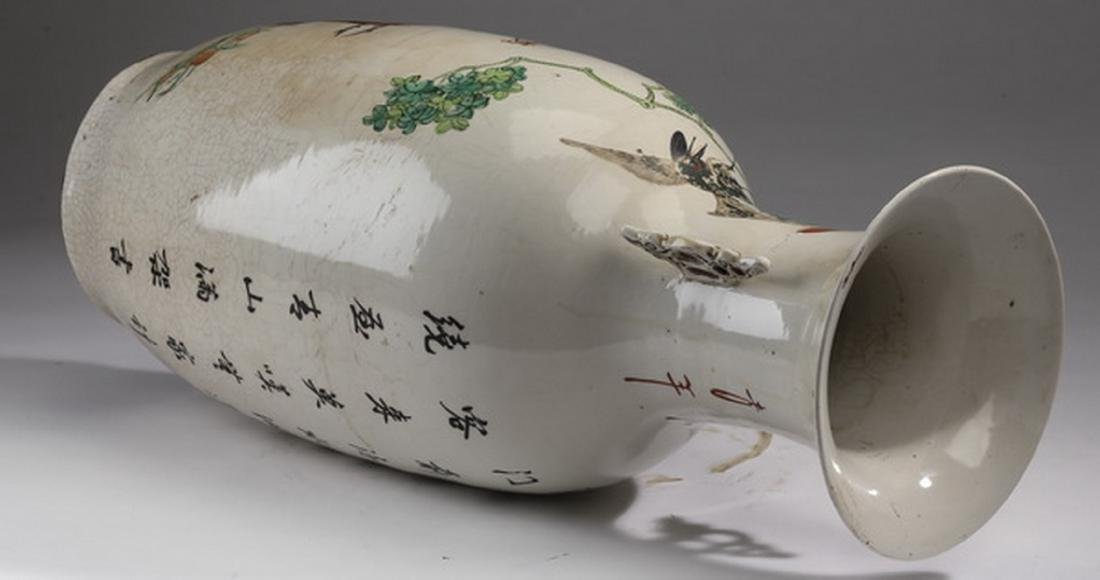 "Chinese crane and deer bottle vase, 22""h - 5"